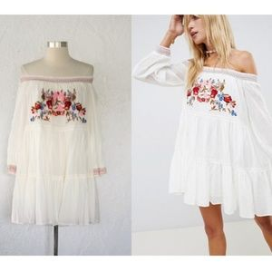 NWT Free People Sunbeams Embroidered Mini Dress